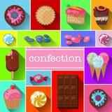 Όμορφες εικόνες ποικίλων γλυκών Εύγευστα επιδόρπια, διανυσματικές εικόνες, μέρη των διαφορετικών στοιχείων Στοκ εικόνες με δικαίωμα ελεύθερης χρήσης