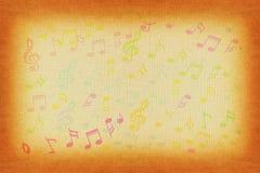 Όμορφες ζωηρόχρωμες σημειώσεις μουσικής στο παλαιό υπόβαθρο εγγράφου Στοκ Εικόνα