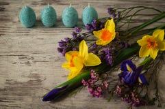 όμορφες διακοσμήσεις διακοπών μορφής αυγών Πάσχας κεριών Στοκ Εικόνα