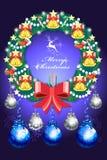 Όμορφες διακοσμήσεις στεφανιών Χριστουγέννων - διανυσματικό eps10 διανυσματική απεικόνιση
