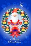 Όμορφες διακοσμήσεις στεφανιών Χριστουγέννων με Άγιο Βασίλη - διανυσματικό eps10 ελεύθερη απεικόνιση δικαιώματος