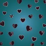 Όμορφες καρδιές σχεδίων στο σκούρο πράσινο, malachite υπόβαθρο Για τα κλωστοϋφαντουργικά προϊόντα, υφάσματα Ρομαντική χαριτωμένη  διανυσματική απεικόνιση