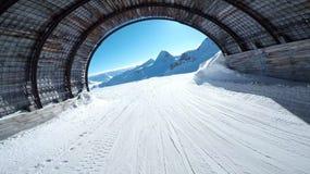 Όμορφες κλίσεις τοπίων στο σκι σηράγγων Solden Αυστρία Στοκ Εικόνα