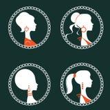 Όμορφες κομψές σκιαγραφίες γυναικών καθορισμένες Στοκ εικόνες με δικαίωμα ελεύθερης χρήσης