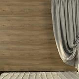 Όμορφες κουρτίνες φιαγμένες από λινό στο υπόβαθρο του ξύλινου wal Στοκ Φωτογραφίες