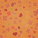 Όμορφες λουλούδια και καρδιά σε ένα χρώμα του υποβάθρου μουστάρδας εορταστικό πρότυπο άνευ ρ& απεικόνιση αποθεμάτων