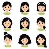 όμορφες μαύρες νεολαίε&sigma Διαφορετικά hairstyle και κουρέματα για το διανυσματικό σύνολο εικονιδίων σαλονιών, που απομονώνεται Ελεύθερη απεικόνιση δικαιώματος