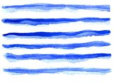 Όμορφες μπλε γραμμές Watercolor ελεύθερη απεικόνιση δικαιώματος