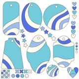 Όμορφες μπλε και άσπρες ετικέττες ή συλλογή ετικετών Στοκ φωτογραφία με δικαίωμα ελεύθερης χρήσης