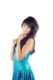 όμορφες μπλε νεολαίες γυναικών φορεμάτων Στοκ εικόνα με δικαίωμα ελεύθερης χρήσης