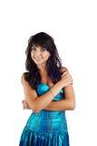 όμορφες μπλε νεολαίες γυναικών φορεμάτων Στοκ Εικόνες