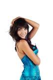 όμορφες μπλε νεολαίες γυναικών φορεμάτων Στοκ φωτογραφίες με δικαίωμα ελεύθερης χρήσης