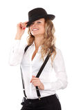 όμορφες νεολαίες αποθεμάτων φωτογραφιών καπέλων πρότυπες Στοκ Φωτογραφίες