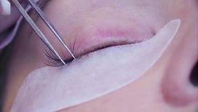 όμορφες νεολαίες γυναικών μπλε ματιών Διαδικασία επέκτασης Eyelash στο σαλόνι φιλμ μικρού μήκους