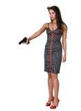 όμορφες νεολαίες γυναικών πυροβόλων όπλων Στοκ Εικόνες