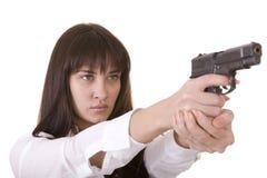 όμορφες νεολαίες γυναικών πυροβόλων όπλων Στοκ Εικόνα