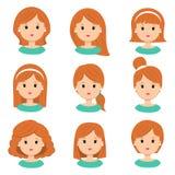 όμορφες νεολαίες γυνα&iota Διαφορετικά hairstyle και κουρέματα για το διανυσματικό σύνολο εικονιδίων σαλονιών, που απομονώνεται σ Ελεύθερη απεικόνιση δικαιώματος