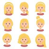 όμορφες νεολαίες γυνα&iota Διαφορετικά hairstyle και κουρέματα για το διανυσματικό σύνολο εικονιδίων σαλονιών, που απομονώνεται σ Διανυσματική απεικόνιση