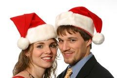 όμορφες νεολαίες ζευγών Χριστουγέννων Στοκ Φωτογραφία