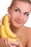 όμορφες νεολαίες κοριτσιών μπανανών Στοκ Εικόνα