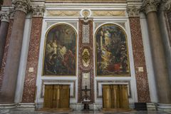 Όμορφες νωπογραφίες στη βασιλική του degli Angeli ε της Σάντα Μαρία Στοκ εικόνα με δικαίωμα ελεύθερης χρήσης