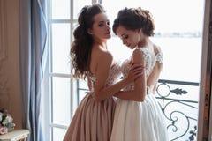Όμορφες νύφη και παράνυμφοι στα φορέματα πολυτέλειας Στοκ Φωτογραφία