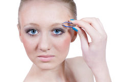 όμορφες ξανθές απομονωμένες makeup νεολαίες γυναικών στοκ εικόνα