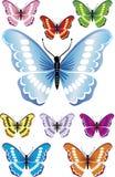 9 όμορφες πεταλούδες με τα difrent χρώματα και τις κλίσεις. Στοκ Εικόνα