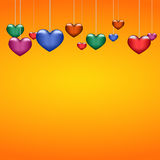 Όμορφες πολύχρωμες καρδιές υποβάθρου σε πορτοκαλί χαρτί Στοκ Εικόνα