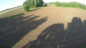 Όμορφες σκιές πρωινού στον πρόσφατα σπαρμένο τομέα, εναέρια άποψη απόθεμα βίντεο
