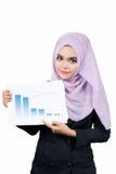 Όμορφες σύγχρονες νέες ασιατικές μουσουλμανικές εκθέσεις εκμετάλλευσης επιχειρησιακών γυναικών και εξέταση τη κάμερα στοκ εικόνες με δικαίωμα ελεύθερης χρήσης