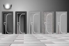 Όμορφες σύγχρονες πόρτες, εγχώριο εσωτερικό Γραπτή απεικόνιση ελεύθερη απεικόνιση δικαιώματος