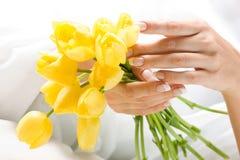 όμορφες τουλίπες χεριών δεσμών Στοκ εικόνα με δικαίωμα ελεύθερης χρήσης