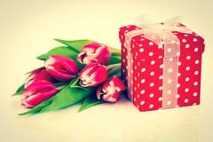 Όμορφες τουλίπες με το κόκκινο κιβώτιο δώρων Πόλκα-σημείων. Στοκ εικόνες με δικαίωμα ελεύθερης χρήσης