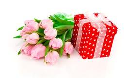 Όμορφες τουλίπες με το κόκκινο κιβώτιο δώρων Πόλκα-σημείων. Στοκ Εικόνες