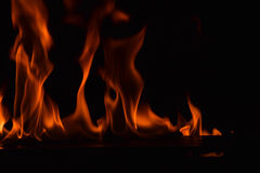 Όμορφες φλόγες πυρκαγιάς στο μαύρο υπόβαθρο Στοκ Φωτογραφίες