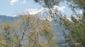 Όμορφη άποψη βουνό χειμερινού στο χιονώδες Tahtali κοντά σε Kemer Antalya στην Τουρκία απόθεμα βίντεο