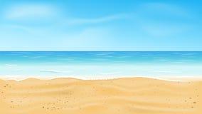 Όμορφη άποψη θάλασσας, τροπικό διανυσματικό υπόβαθρο παραλιών στοκ φωτογραφία