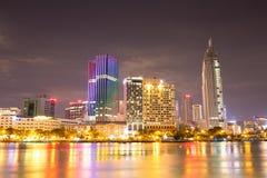 Όμορφη άποψη νύχτας της όχθης ποταμού του Ho Chi Minh Στοκ φωτογραφίες με δικαίωμα ελεύθερης χρήσης