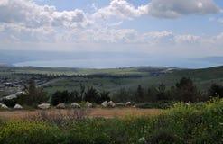 Όμορφη άποψη στη θάλασσα Galilee, τα ύψη Γκολάν Στοκ φωτογραφίες με δικαίωμα ελεύθερης χρήσης