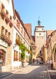 Όμορφη άποψη της ιστορικής πόλης Rothenburg ob der Tauber, Βαυαρία, Γερμανία Στοκ Φωτογραφία