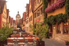 Όμορφη άποψη της ιστορικής πόλης Rothenburg ob der Tauber, Βαυαρία, Γερμανία Στοκ Εικόνα