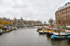 Όμορφη άποψη της πόλης του Άμστερνταμ, Κάτω Χώρες Στοκ Φωτογραφία