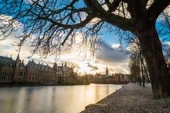 Όμορφη άποψη της Χάγης στο ηλιοβασίλεμα, Κάτω Χώρες, Ευρώπη Στοκ Εικόνες