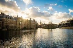 Όμορφη άποψη της Χάγης στο ηλιοβασίλεμα, Κάτω Χώρες, Ευρώπη Στοκ Φωτογραφίες