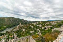Όμορφη άποψη τοπίων της παλαιάς πόλης Pocitelj, Βοσνία-Ερζεγοβίνη Στοκ Εικόνα