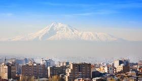 Όμορφη άποψη του βουνού Ararat και της πόλης Jerevan την άνοιξη, Αρμενία Στοκ Εικόνες