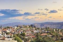 Όμορφη άποψη του γραφικού χωριού των artisans Λεύκαρα, Κύπρος Στοκ Φωτογραφίες