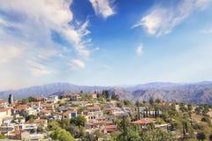 Όμορφη άποψη του γραφικού χωριού των artisans Λεύκαρα, Κύπρος Στοκ Εικόνα
