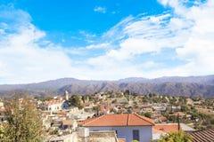 Όμορφη άποψη του γραφικού χωριού των artisans Λεύκαρα, Κύπρος Στοκ Φωτογραφία
